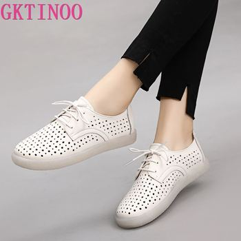 GKTINOO Women Flat Shoes Lace Up Moccasins Soft Genuine Leather Ladies Shoes Handmade Flats Hollow Casual Women Shoes spring autumn soft bottom genuine leather comfortable flats large size women shoes flat with lace casual shoes elderly shoes