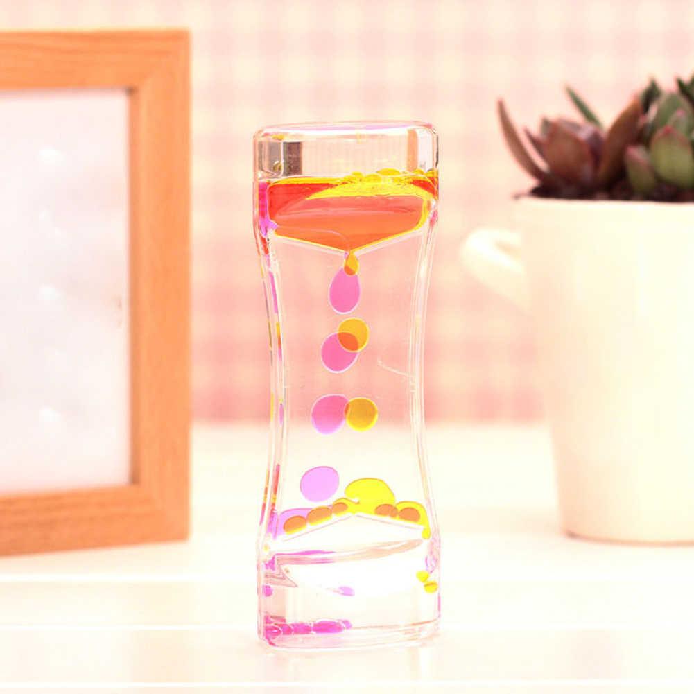 สีคู่ Floating Liquid น้ำมันอะคริลิคนาฬิกาทรายรูปปั้นประติมากรรม Motion Bubbles ภาพนาฬิกาทรายรูปปั้นตกแต่งบ้าน