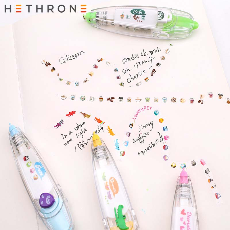 Hethrone Kawaii Animals Press Type Correction Tape Diary Scrapbooking Album Stickers Office Decorative Tape Writing Corrector To