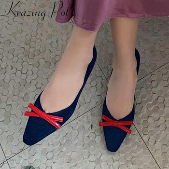 Krazing pot 2020 kid suede small square toe high heels shoes women butterfly-knot sweet dating slip on spring shallow pumps L15