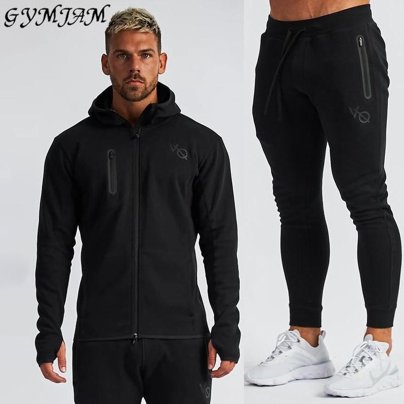 Jogger Casual Streetwear Fashion Men's Clothing 2019 New Men's Sportswear Trousers + Hoodie Fitness Cotton Men's Suit