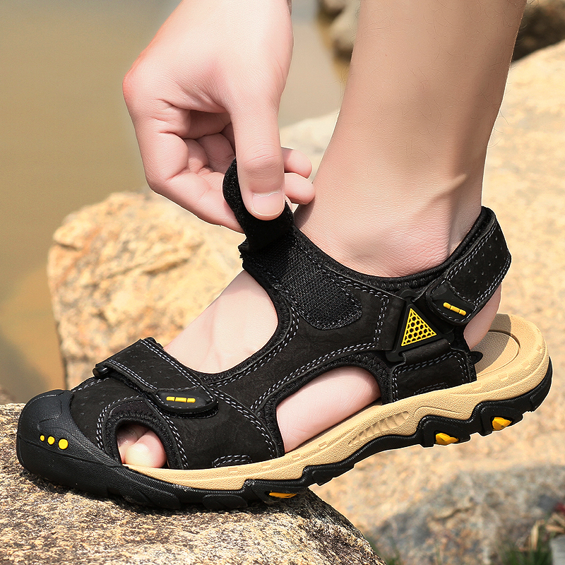 Top Quality New Luxury Mens Sandals Genuine Leather Cowhide Handmade Summer Beach Shoes Casual Outdoor Footwear Light Breathable