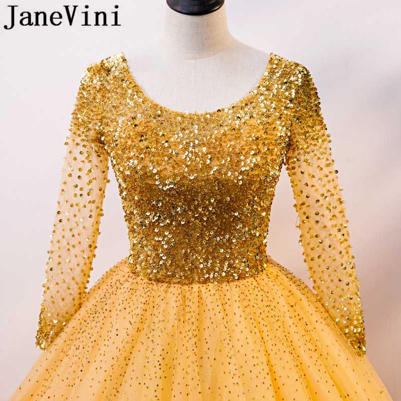 JaneVini 2021 Luxury Gold Crystals Ball Gown Quinceanera Dresses Beaded Long Sleeve Tulle Formal Prom Party Masquerade Gowns