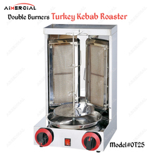 OT25 Gas Vertical kebab machine 360°rotary double burners S.steel Turkey roaster Shawarma Middle East Rotisserie Equipment