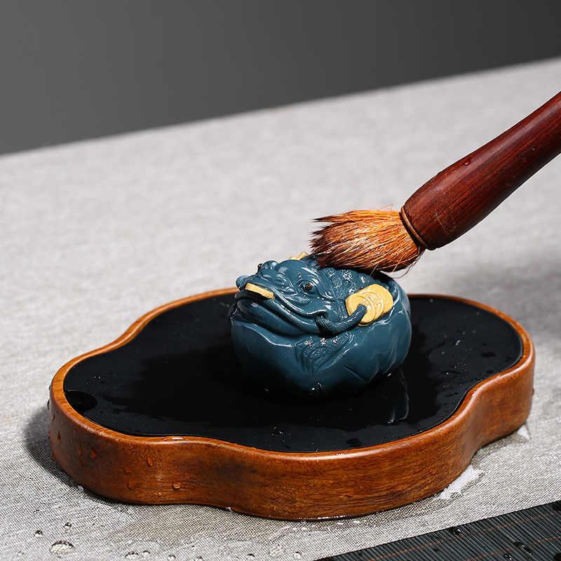 PINNY Yixing fioletowy gliny liści lotosu złota ropucha herbata dla zwierząt domowych ceramiczne naczynie na herbatę ceremonia ozdoby ZiSha Masco posągi blat rzemiosła