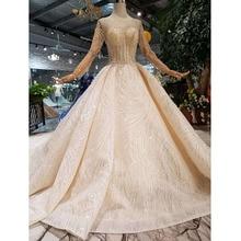 Bgw ht43024 vestidos de casamento feitos à mão 2020 o neck manga longa luxo frisado brilhante laço vestido de noiva moda novo material