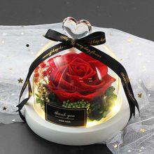Hot Beauty And The Beast Preserved Valentines Day Gift Exclusive Rose In Glass Dome With Lights Eternal Real Rose Mother's Day
