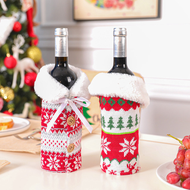 Christmas home decorations Wine Bottle Cover Bags Decoration Home Party Santa Claus Christmas boże narodzenie navidad 1