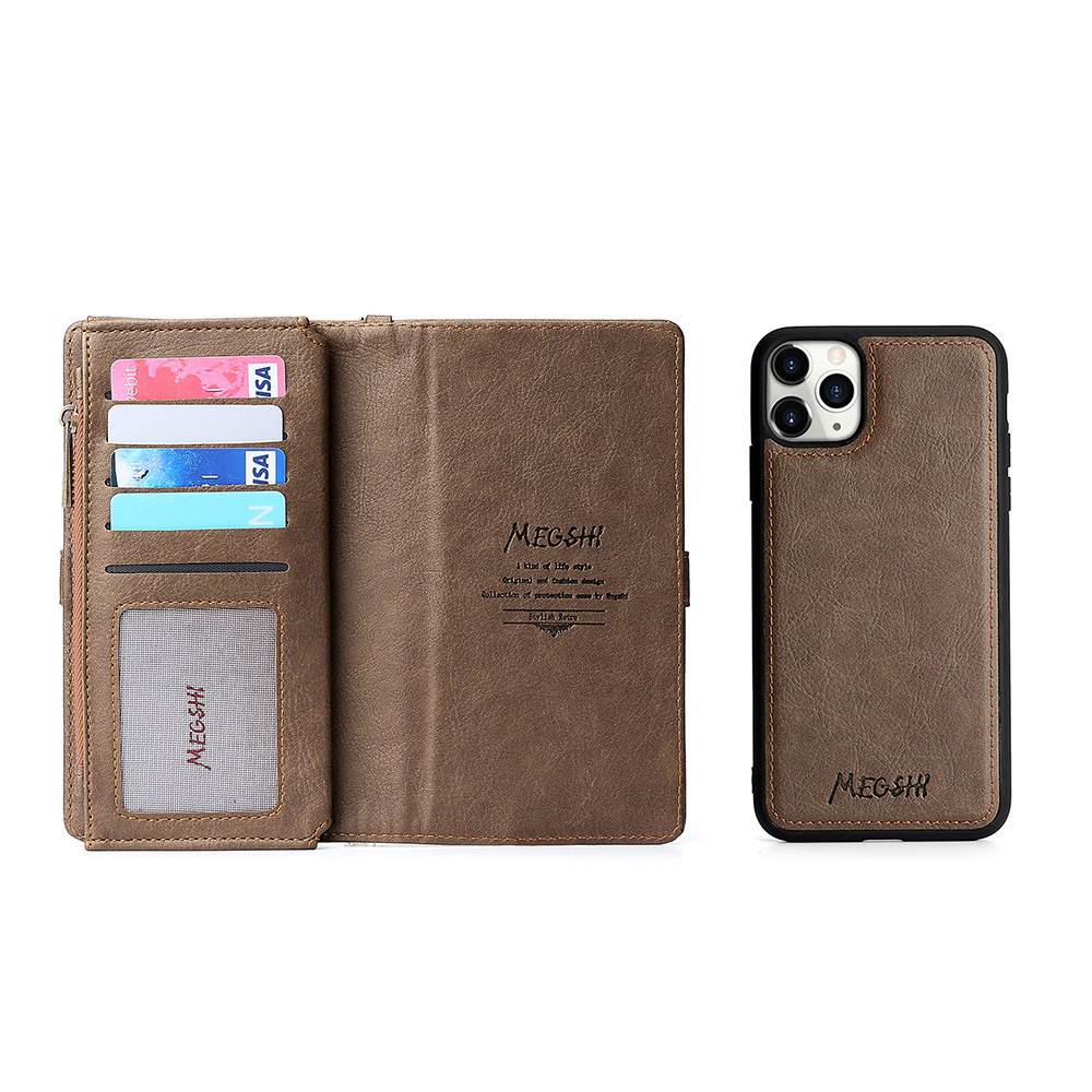 MEGSHI Luxury <font><b>leather</b></font> Wallet <font><b>Case</b></font> PC silicone lychee for iphone6s 7 <font><b>8</b></font> 8Plus pc grained Back Magnet <font><b>Case</b></font> <font><b>Logo</b></font> Holster Flip Coque image
