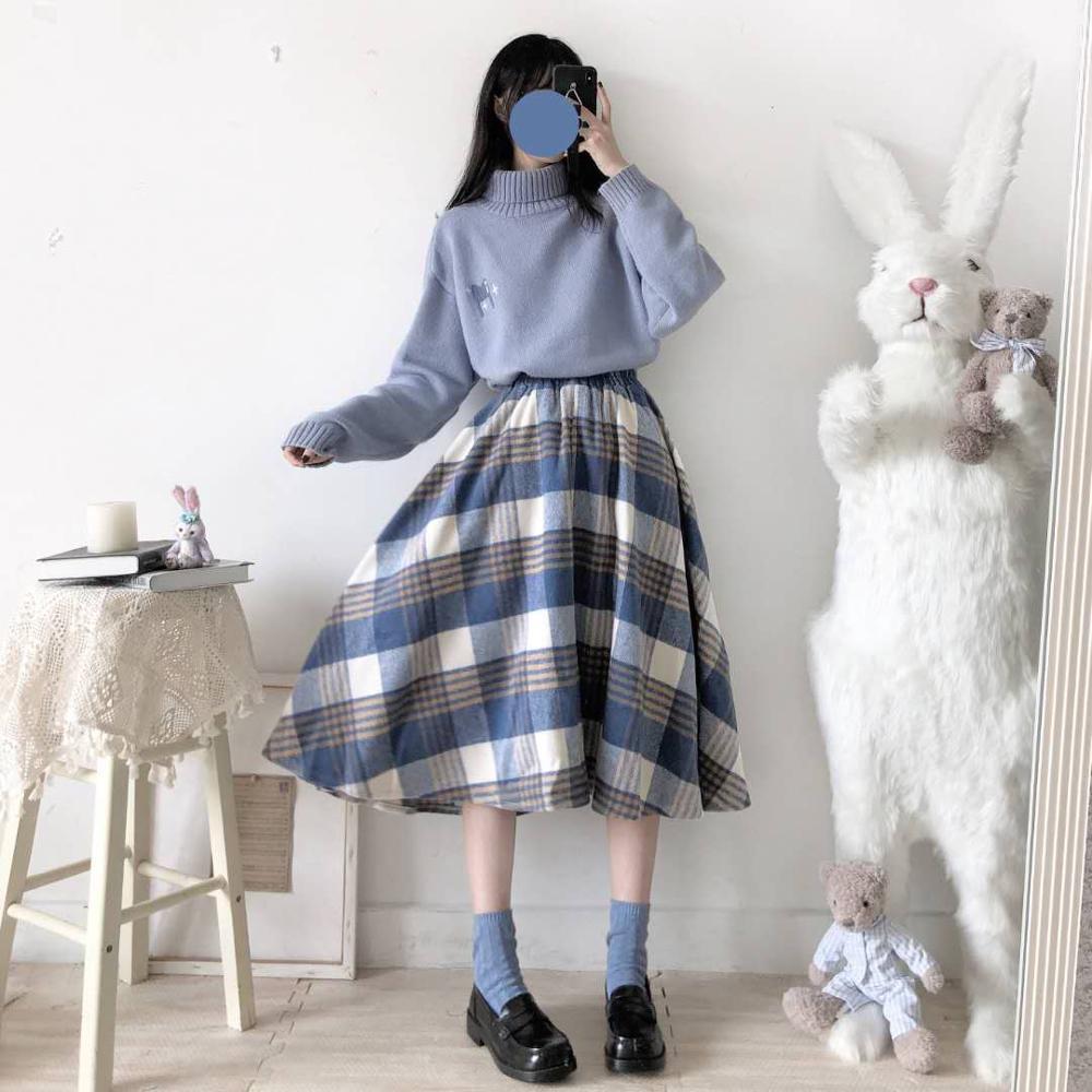 K-pop Baby Blue $ Pink Sweater & Pleated Skirt 2 PCs Set  2