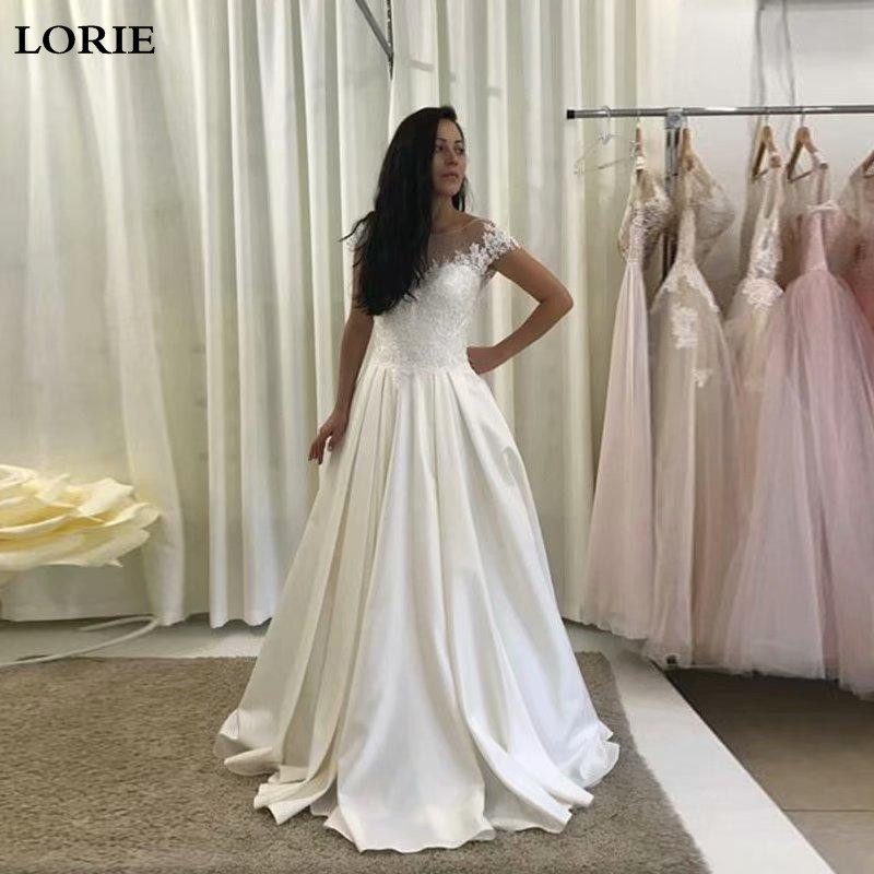 LORIE A Line Wedding Dress Satin Cap Sleeve Lace Bride Dress  Open Back Vestido De Novia Corset Wedding Gowns