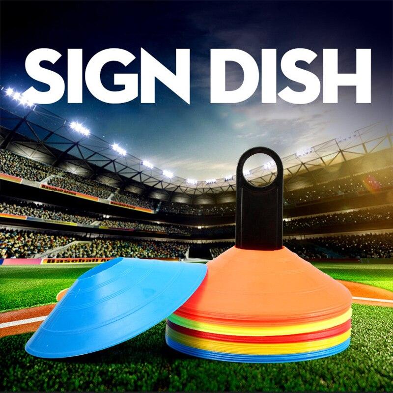 10 Pcs Soccer Training Sign Flat Pressure Resistant Cones Marker Discs Barrier Accessories YA88