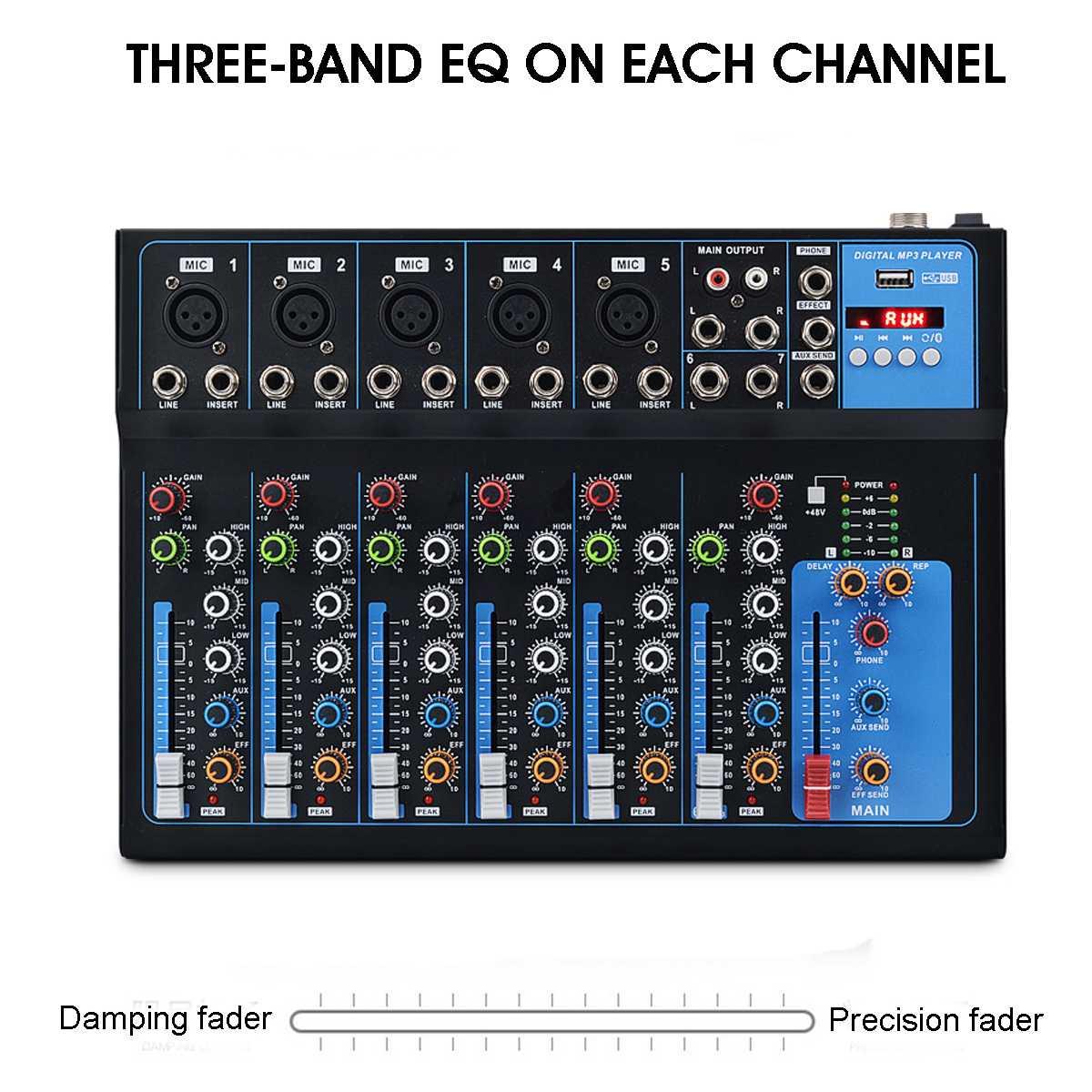 7 kanal bluetooth Digitale Mikrofon Sound Mixer mit USB DJ Sound Mischpult 48V Verstärker Für Karaoke KTV Spiel teil