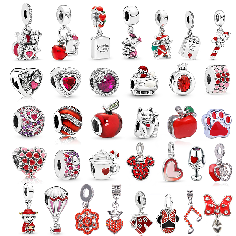 TOGORY 2Pcs/lot Special Red Love Heart Crown Charm Beads Pendant Fits Original Pandora Charms Bracelet Women Jewelry DIY Making(China)