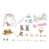 Sylvanian Families Toy Sylvanian Families Cat Rabbit Baby Room Set GIRL'S Play House Furniture Accessories 5166