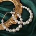 Женские Элегантные Круглые серьги с белым жемчугом, серьги-кольца для девочек, круглые серьги с большим жемчугом для дня рождения, свадебна...