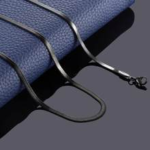 Collier plat en acier inoxydable pour homme, couleur or et argent, chaîne serpent étanche, longueur variable, épaisseur de 3 mm, cadeau