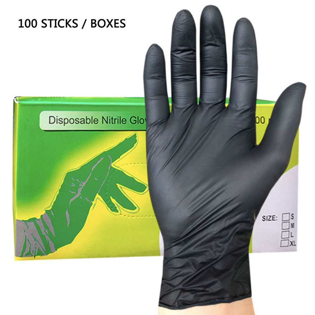 100Pcs / Set Household Cleaning Washing Disposable Mechanic Gloves Black Nitrile Laboratory Nail Art Anti-Static Guanti