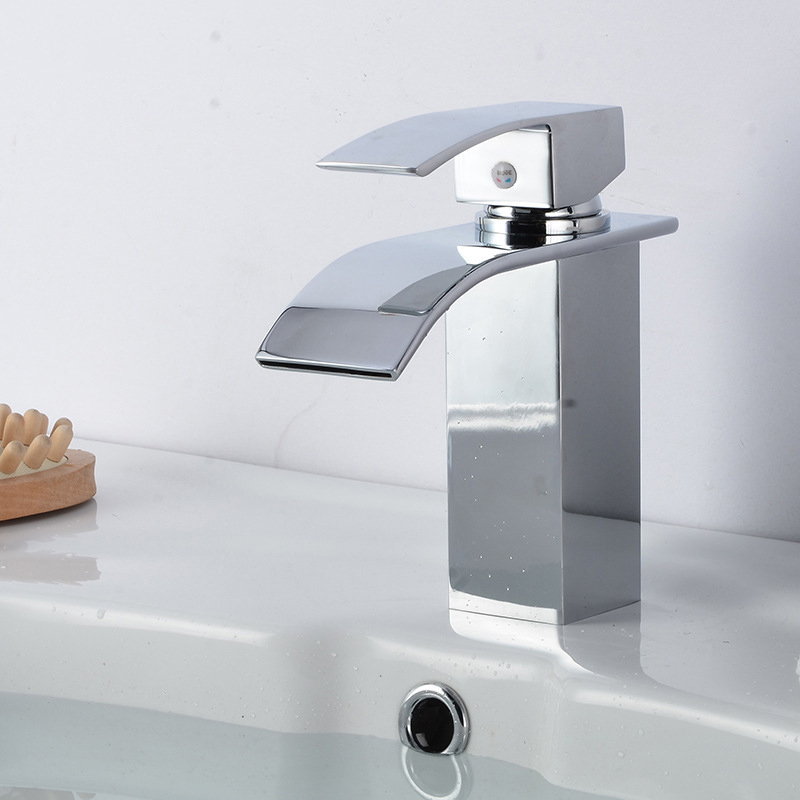 Cross Border For New Style Square Basin Faucet Wide-Mouth Waterfall Faucet Bathroom Basin Hot And Cold Faucet