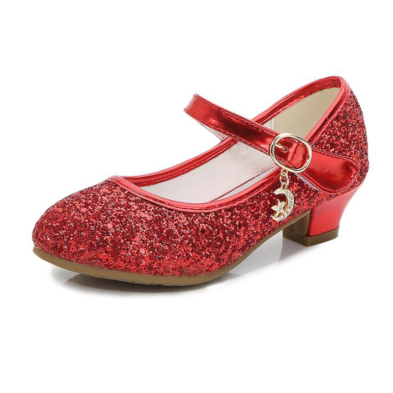 Spring Girls High Heels Children Leather Shoes Girls Wedding Princess Leather Shoes Red Sequins Student Dance Shoes Girl Sandals