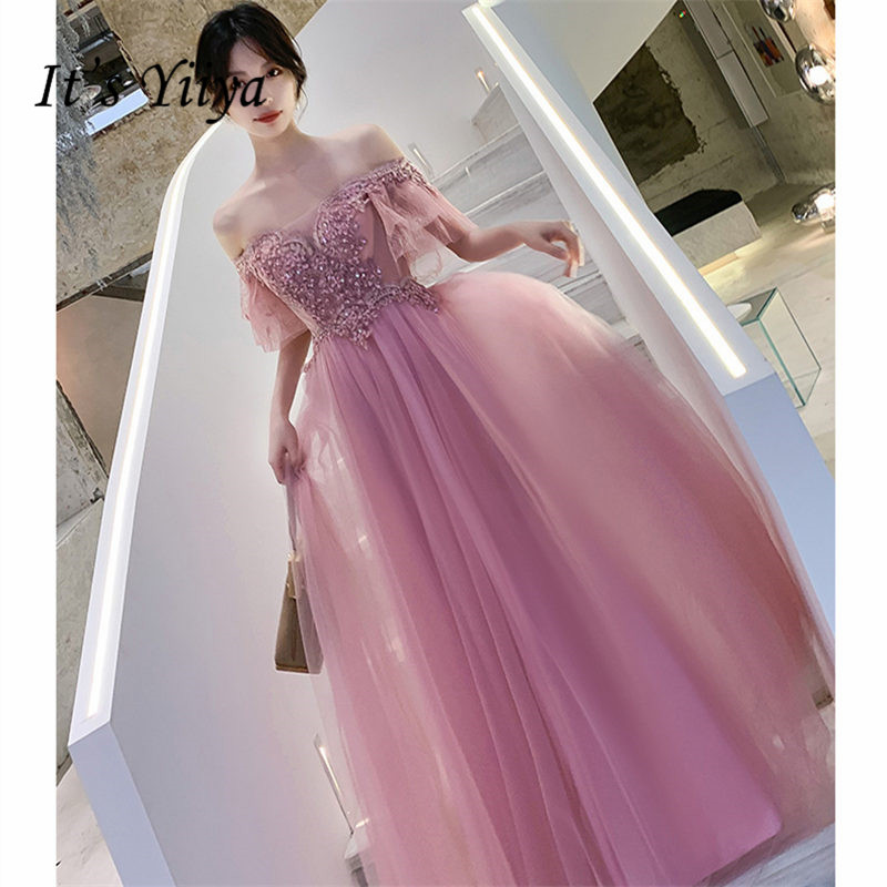 It's Yiiya Evening Dresses Boat Neck Plus Size Short Sleeve Appliques Robe De Soiree Floor-Length Women Party Dresses E896