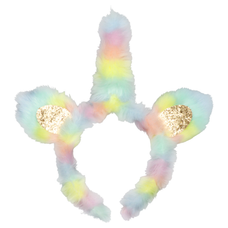 New Plush Unicorn Hair Hoop Kid's Party Colorful Super Plush Hair Hoop Children's Cat Ears Hair Headpiece