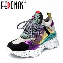 FEDONAS موضة النساء حقيقية أحذية رياضية من الجلد الشقق منصات Corss تعادل الربيع الصيف حذاء كاجوال امرأة جولة تو أحذية مسطحة