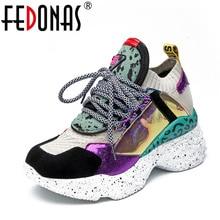 FEDONAS zapatillas de deporte de piel auténtica para mujer, zapatos planos con plataforma, informales, con punta redonda, para primavera y verano