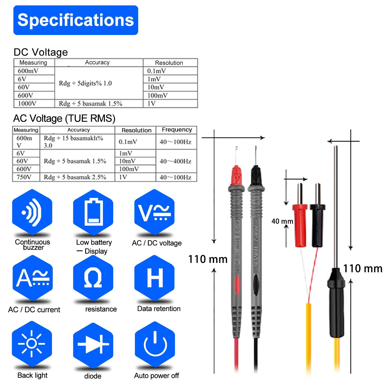 HoldPeak HP-870N Auto Range Multimetro Digital Clamp Meter Multimeter - 計測器 - 写真 3