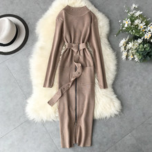 Spring Autumn Women Clothes 2020 Korean Vintage Women's Dresses Sweater Black Bodycon Dress Vestidos Robe Femme ZT5558(China)