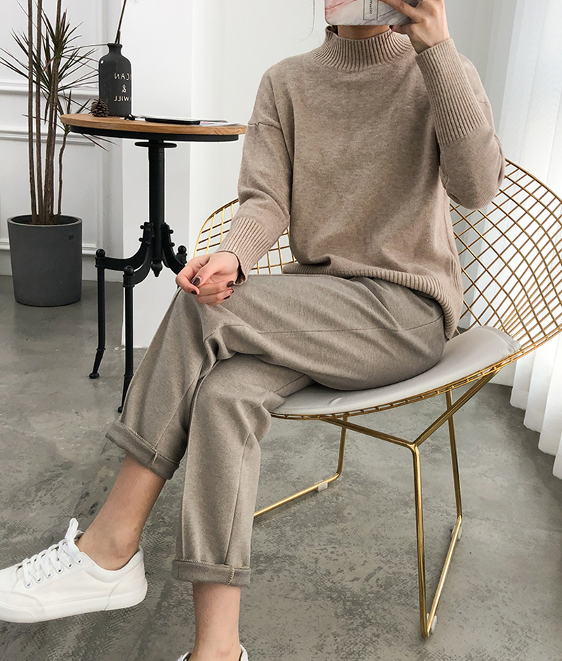 Habbd40efee6a45a5951a2d00431ac03fU - Thicken Women Pencil Pants Autumn Winter Plus Size OL Style Wool Female Work Suit Pant Loose Female Trousers Capris 6648 50