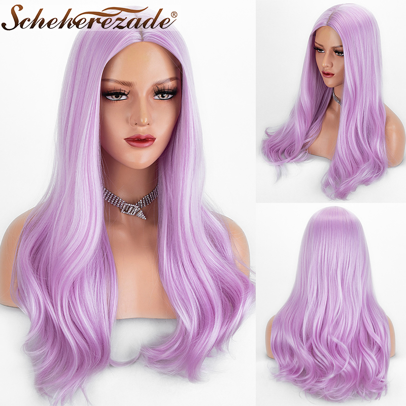 Scheherezade Long Natural Straight Synthetic Wigs For Black Women Middle Part Pink Cosplay Wig High Temperature Fiber Hair