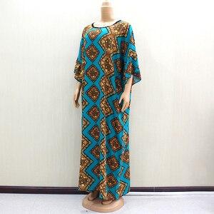 Image 4 - 2019 Dashikiage piękna afrykańska moda O Neck krótka, zwiewna rękaw elegancka szlachetna damska długa sukienka z szalikiem