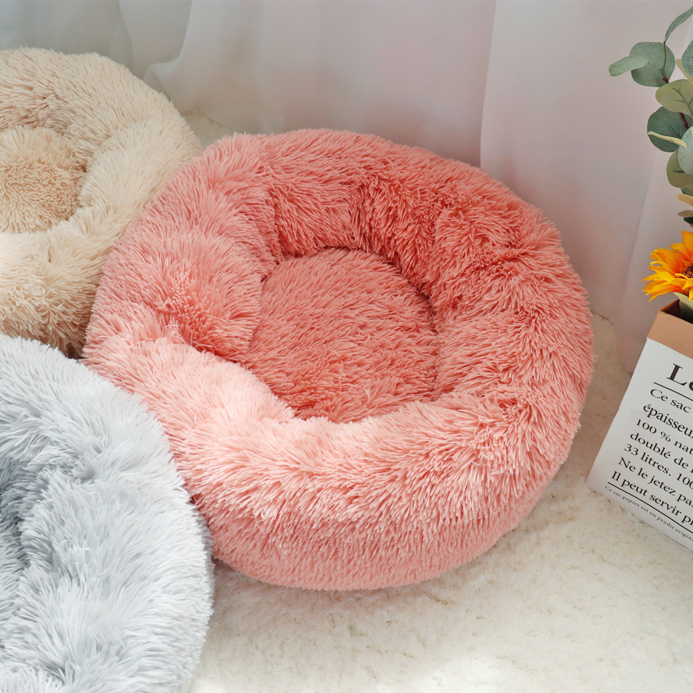Fluffy Calming Dog Bed Long Plush Donut Pet Bed Hondenmand Round Orthopedic Lounger Sleeping Bag Kennel Cat Puppy Sofa Bed House 12