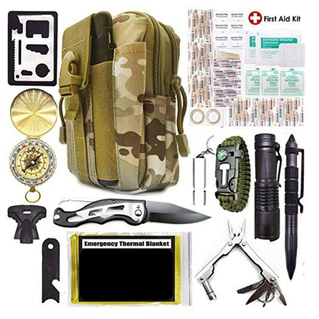Emergency Survival Kit Survival Gear First Aid Kit SOS Tactical Tool Flashlight with Molle bag Suitable for Camping Adventure 5
