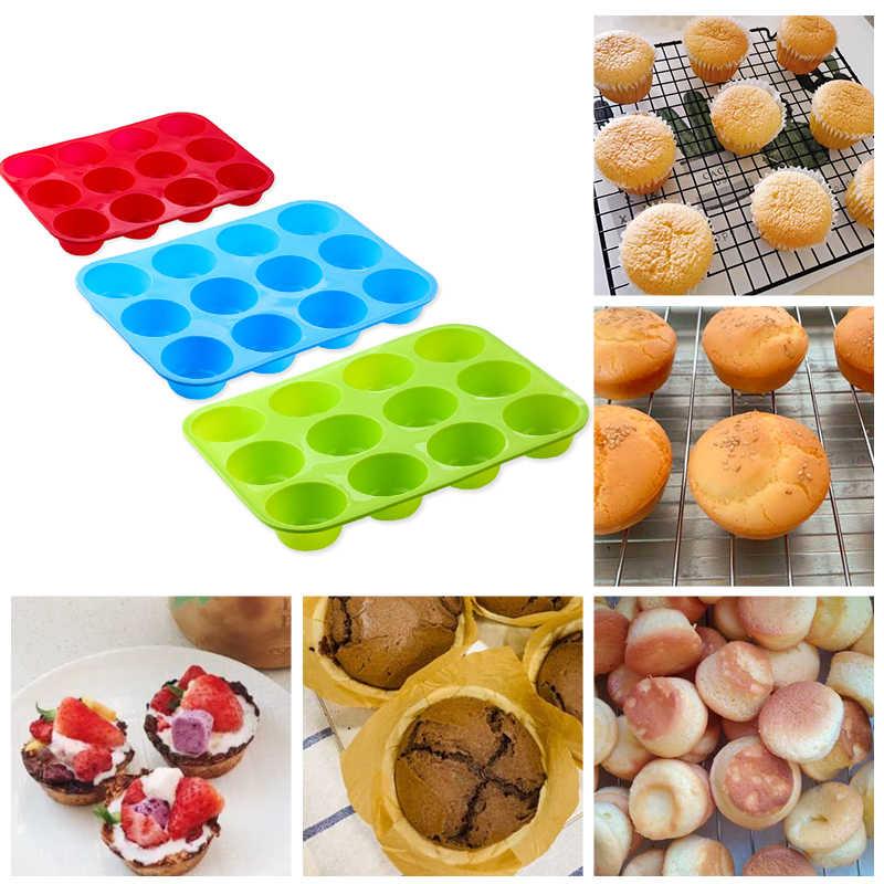 Siliconen Cakevorm Ronde Vorm Rechthoekige Siliconen Brood Pan Cake Ronde Vorm Mold 12 Gaten Muffin Cupcake Bakken Pannen