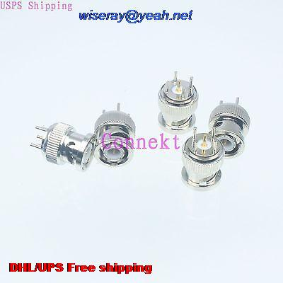 DHL/EMS 300pcs Connector BNC Male Plug Solder PCB Mount Straight-A3