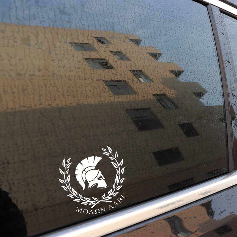 Aliauto Personaily Stiker Mobil Molon Labe Prajurit Sparta Dekoratif Tahan Air Vinyl Decal untuk Porsche Mazda 6 Peugeot, 18 Cm * 17 Cm