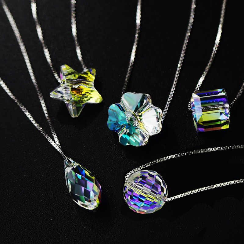 Kualitas Terbaik 100% 925 Sterling Silver Asli Kristal dari Swarovskis Liontin Kalung Wanita Buatan Tangan Maxi Collares