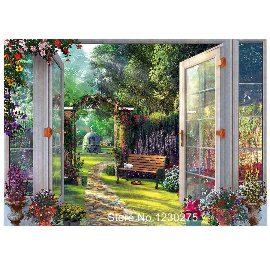 5D Diy Penuh Diamond Bordir Sale Garden Jendela View Lukisan Berlian Berlian Buatan Square/Putaran Bor Cross Stitch Mosaik JX514