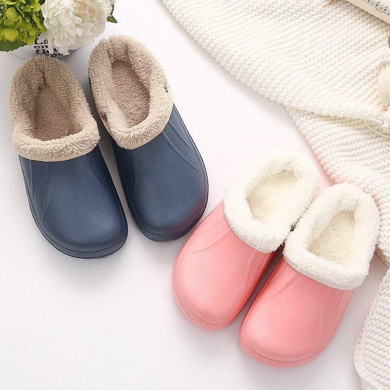 Winter Fur Slippers For Men Warm Indoor Floor Slipper Man Waterproof Garden Clogs Slipper Shoes Home Shoes Slipper Male Footwear