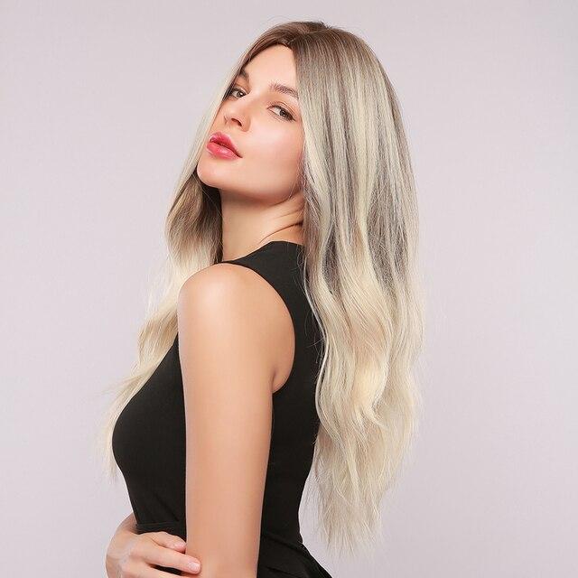 GEMMA طويل مموج شعر مستعار اصطناعي أومبير براون شقراء تسليط الضوء على الباروكات للنساء السود الجزء الأوسط تأثيري الشعر ارتفاع درجة الحرارة الألياف 3