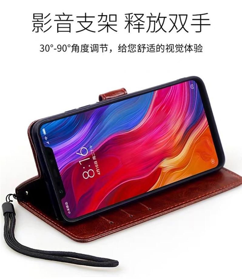 Luxury Flip Leather Wallet Case for Xiaomi Mi9 Pro SE A2 Lite 5C Prime Mix 3 Note 2 2S Mi6 5S Plus Black Shark Patterned Cover