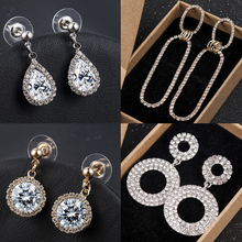 2019 New Fashion High Quality Silver Rhinestone Drop Dangle Earrings for Women Original Gift Jewelry Crystal Earrings Wholesale