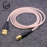 XSSH Audio DIY OCC 7n Copper Silver Mixed OFC copper conductor USB A to USB B Audio cable Cord Wire