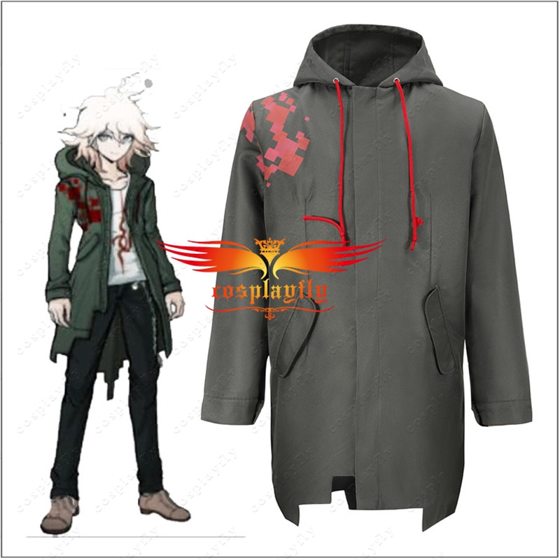 Anime Super <font><b>Danganronpa</b></font> 2 Nagito Komaeda Nagito Army Green Color Jacket Men Hoodies ONLY <font><b>Cosplay</b></font> Costume with Real Pockets Stock image