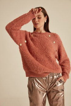 цена на Button Bike Collar Knitwear Sweater