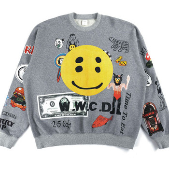 Kanye West Graffiti Hip Hop Mens Hoody Men Women High Quality Smiley Panda Terry Pullover Kanye West CPFM WWCD Sweatshirt image
