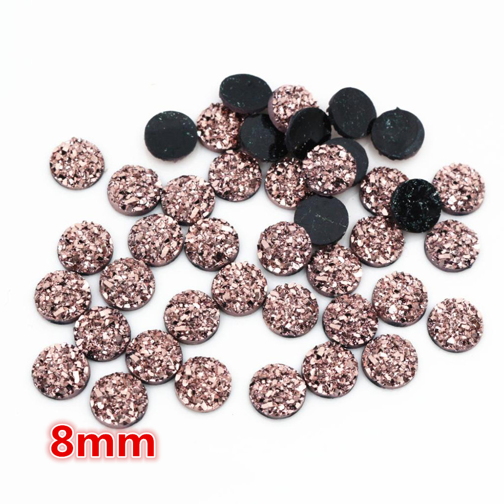 New Fashion 8mm 40pcs Rose Gold Colors Natural Ore Style Flat Back Resin Cabochons For Bracelet Earrings Accessories-O6-26