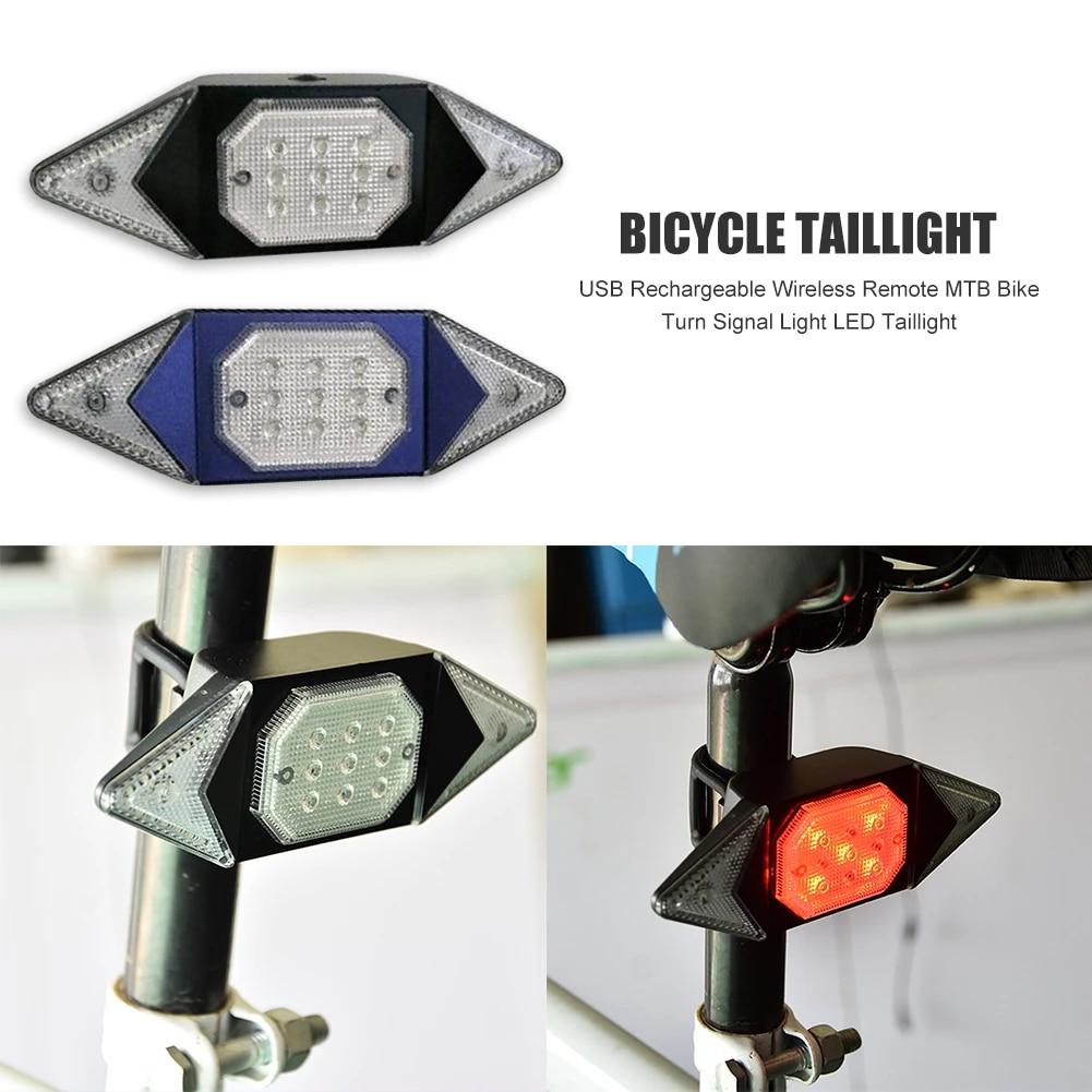 Bicycle USB LED Indicator Bike Rear Tail Laser Turn Signal Light Wireless Remote